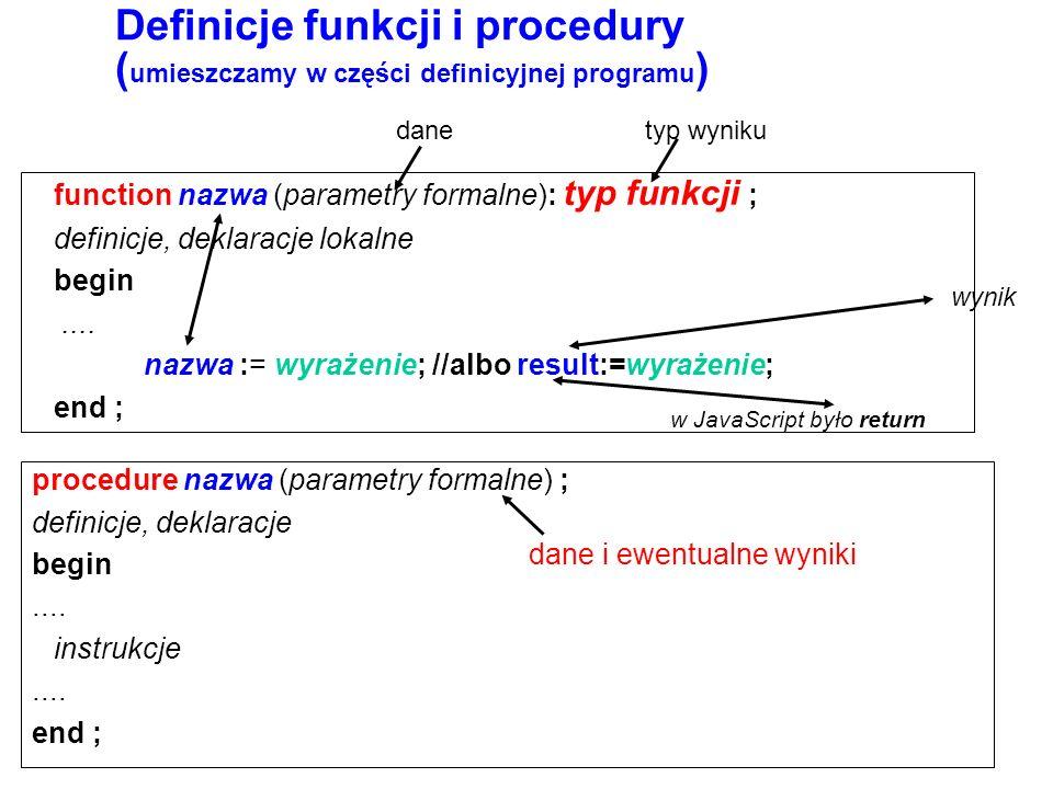 function nazwa (parametry formalne): typ funkcji ; definicje, deklaracje lokalne begin....
