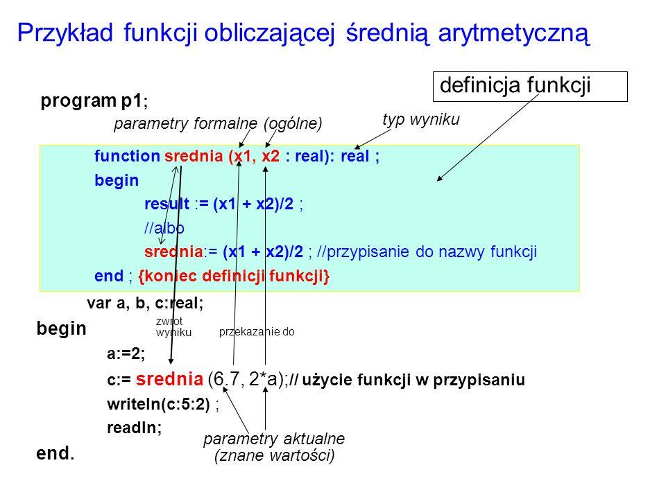 var a, b, c:real; begin a:=2; c:= srednia (6.7, 2*a); // użycie funkcji w przypisaniu writeln(c:5:2) ; readln; end.