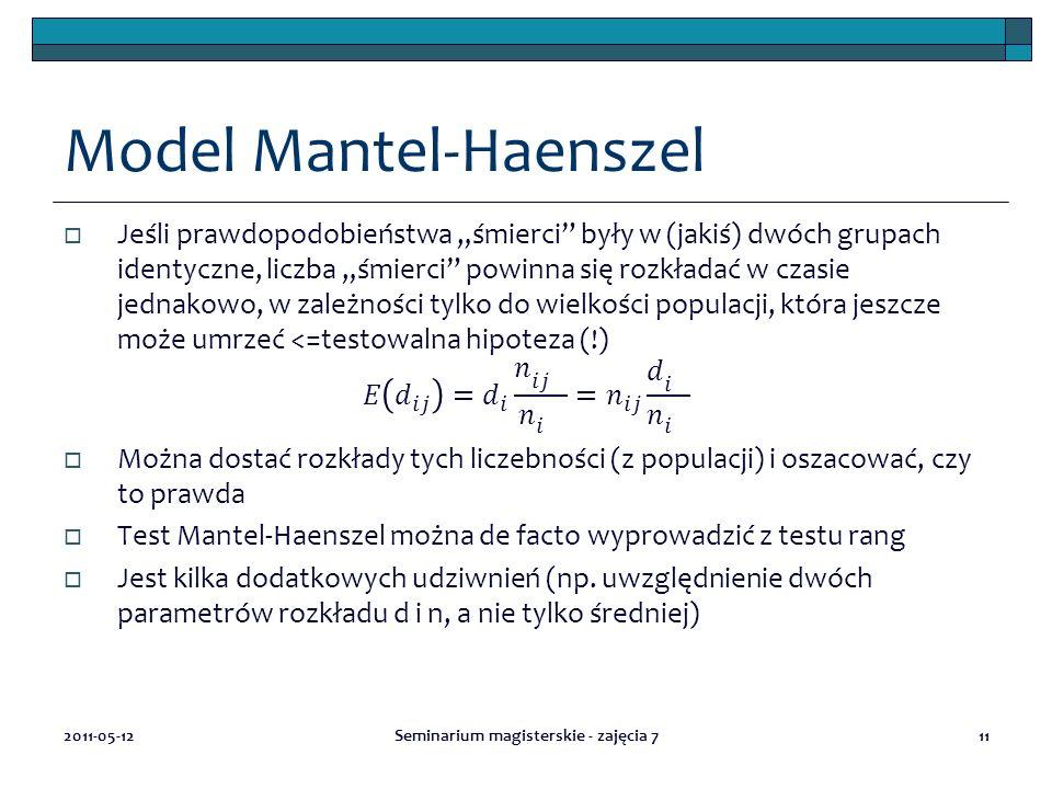 Model Mantel-Haenszel 2011-05-12Seminarium magisterskie - zajęcia 711
