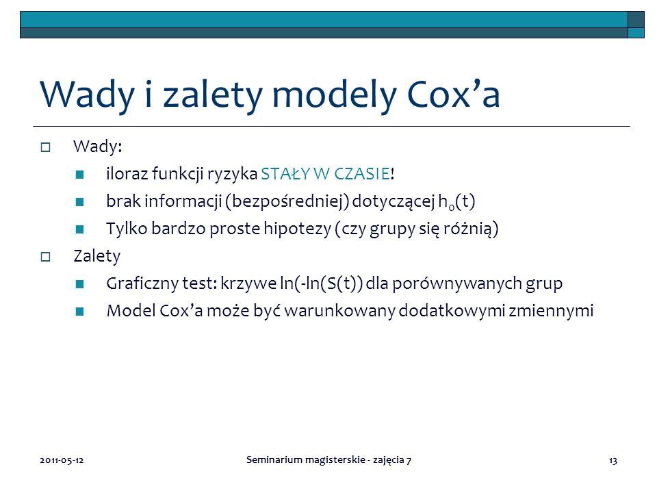 13 Wady i zalety modely Cox'a  Wady: iloraz funkcji ryzyka STAŁY W CZASIE.