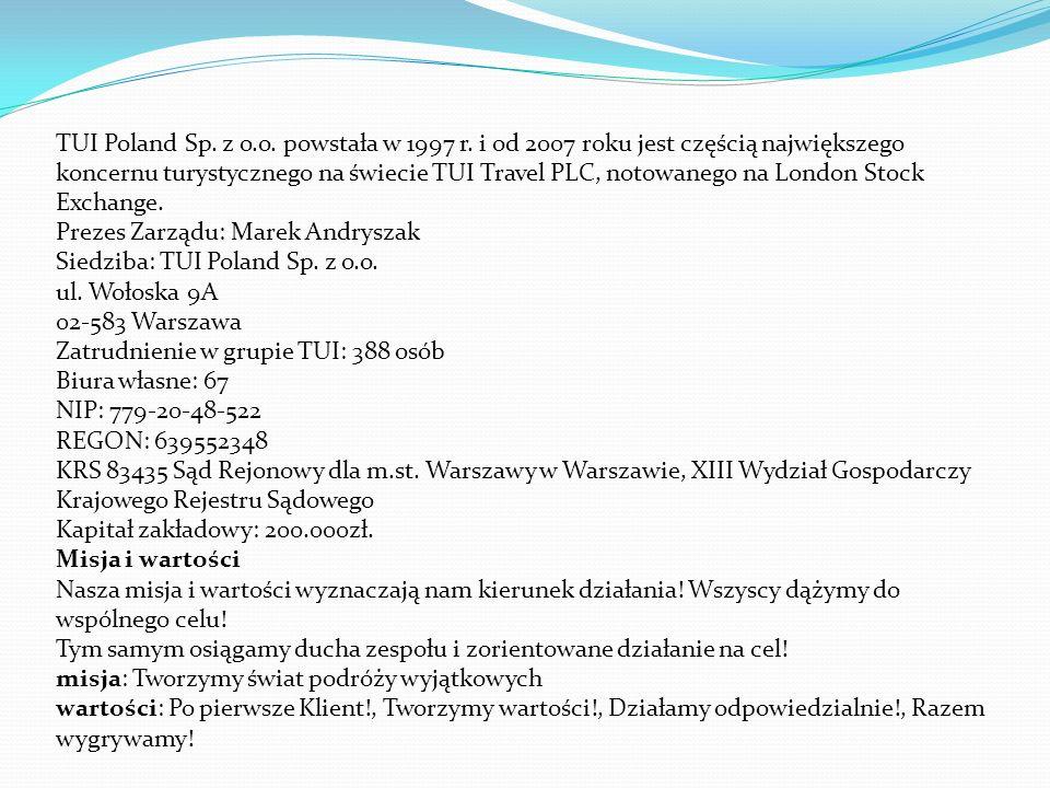 TUI Poland Sp. z o.o. powstała w 1997 r.