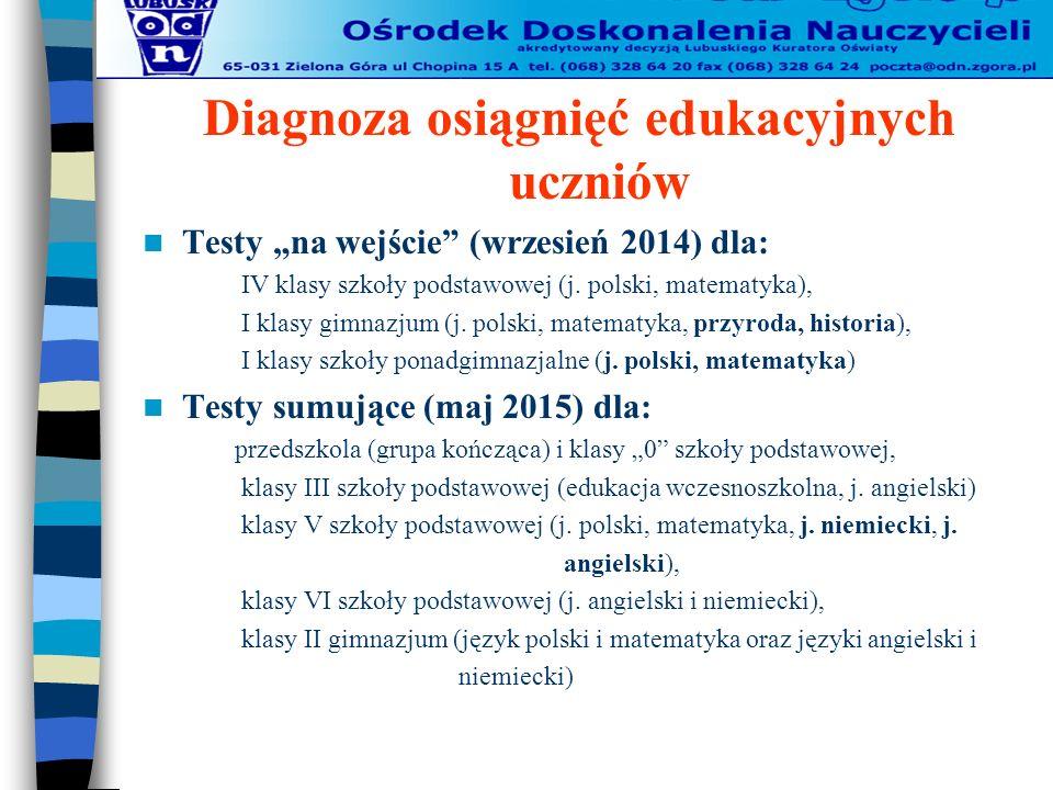 """Diagnoza osiągnięć edukacyjnych uczniów Testy """"na wejście (wrzesień 2014) dla: IV klasy szkoły podstawowej (j."""