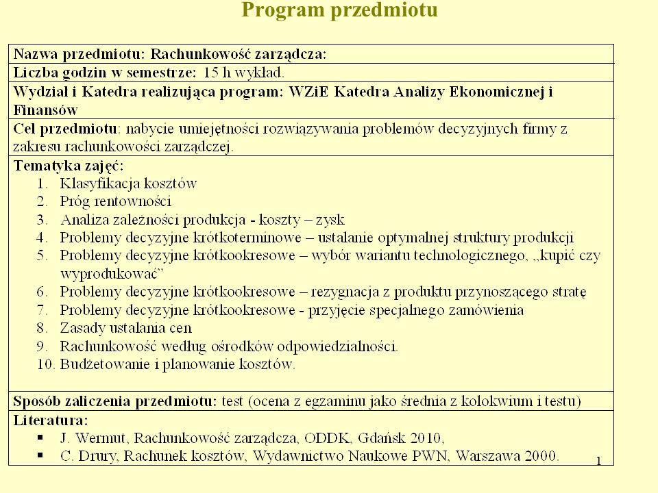 1 Program przedmiotu