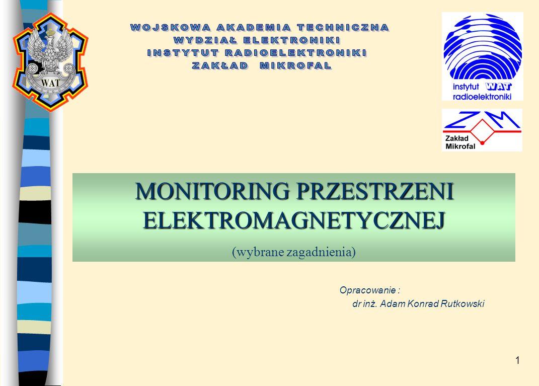 1 MONITORING PRZESTRZENI ELEKTROMAGNETYCZNEJ MONITORING PRZESTRZENI ELEKTROMAGNETYCZNEJ (wybrane zagadnienia) Opracowanie : dr inż.