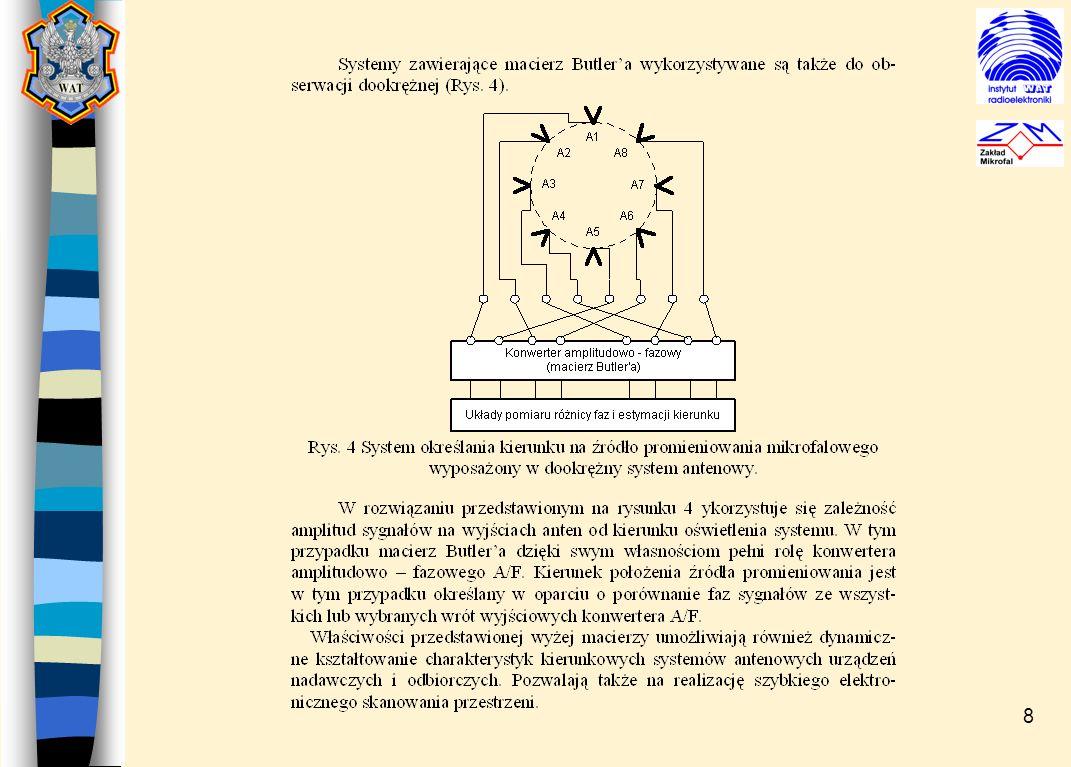 9 Podstawowe cechy urzadzenia: - pasmo pracy: 0.75 – 125 GHz (praca autonomiczna), - sektor obserwacji:  22 , - w postaci graficznej przedstawiany jest: - kształt obwiedni sygnału, - przebieg częstotliwości w czasie trwania sygnału, - linia kierunku nadejścia sygnału, - oprogramowanie wypracowuje pulse descriptor vector PDV zawierający następujące elementy: czas trwania PW, częstotliwość średnią f avg, moc średnią P avg, kierunek nadejścia DOA, - oprogramowanie posiada procedury filtracji szumów addytywnych, - wszystkie dane zarejestrowane w czasie odbioru sygnału są zapisywane w postaci pierwotnej na dysk, - oprogramowanie posiada wbudowane procedury przeglądania i analizy zbiorów zapisanych wcześniej sygnałów.