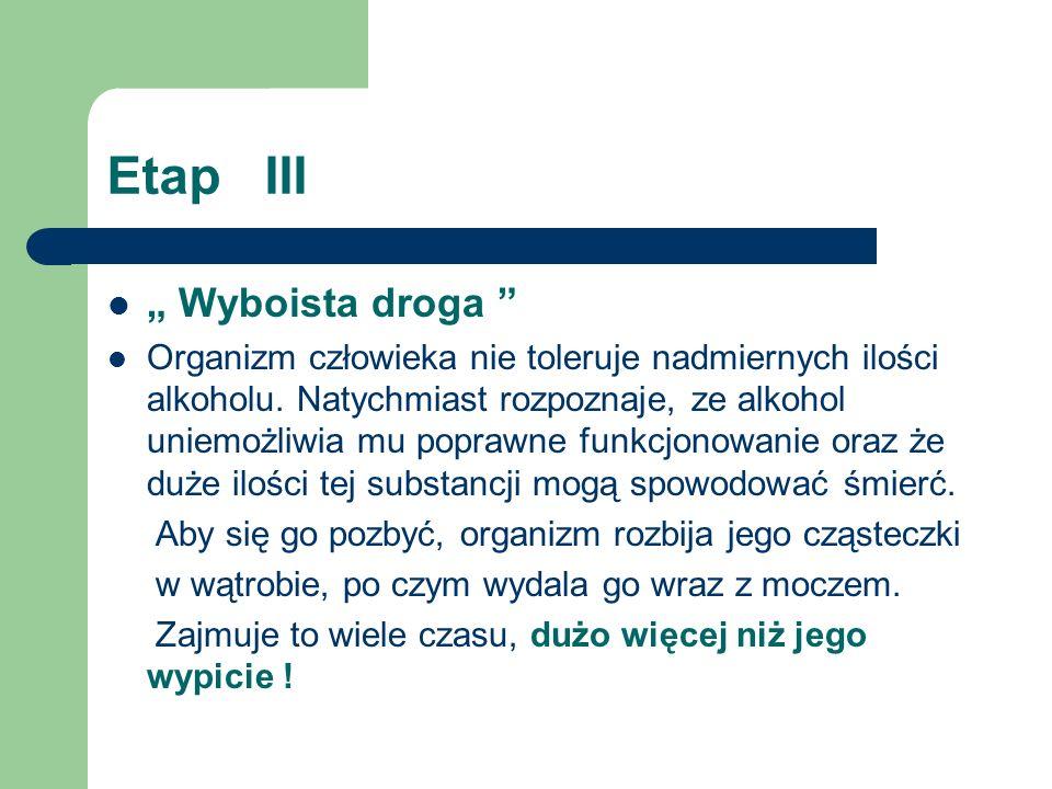 """Etap III """" Wyboista droga """" Organizm człowieka nie toleruje nadmiernych ilości alkoholu. Natychmiast rozpoznaje, ze alkohol uniemożliwia mu poprawne f"""