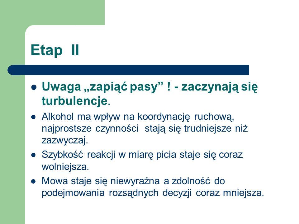 """Etap II Uwaga """"zapiąć pasy"""" ! - zaczynają się turbulencje. Alkohol ma wpływ na koordynację ruchową, najprostsze czynności stają się trudniejsze niż za"""