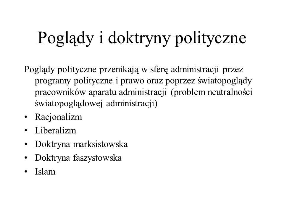 Poglądy i doktryny polityczne Poglądy polityczne przenikają w sferę administracji przez programy polityczne i prawo oraz poprzez światopoglądy pracown