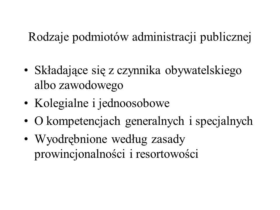 Rodzaje podmiotów administracji publicznej Składające się z czynnika obywatelskiego albo zawodowego Kolegialne i jednoosobowe O kompetencjach generaln