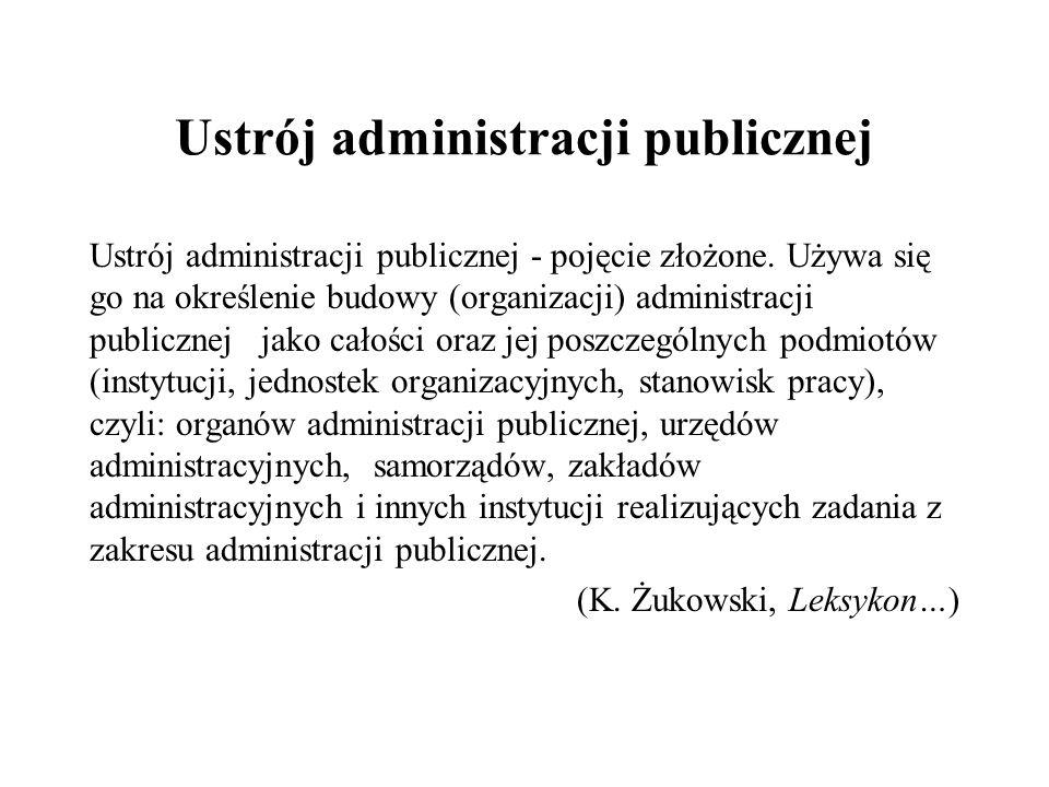 Ustrój administracji publicznej Ustrój administracji publicznej - pojęcie złożone. Używa się go na określenie budowy (organizacji) administracji publi