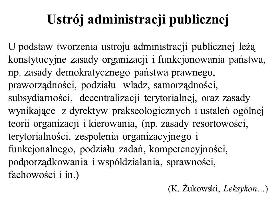 Ustrój administracji publicznej U podstaw tworzenia ustroju administracji publicznej leżą konstytucyjne zasady organizacji i funkcjonowania państwa, n
