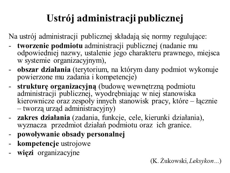 Ustrój administracji publicznej Na ustrój administracji publicznej składają się normy regulujące: -tworzenie podmiotu administracji publicznej (nadani