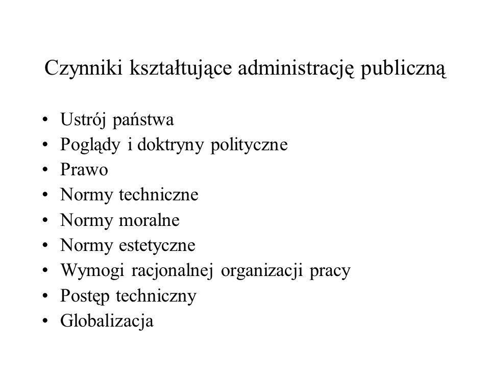 Czynniki kształtujące administrację publiczną Ustrój państwa Poglądy i doktryny polityczne Prawo Normy techniczne Normy moralne Normy estetyczne Wymog