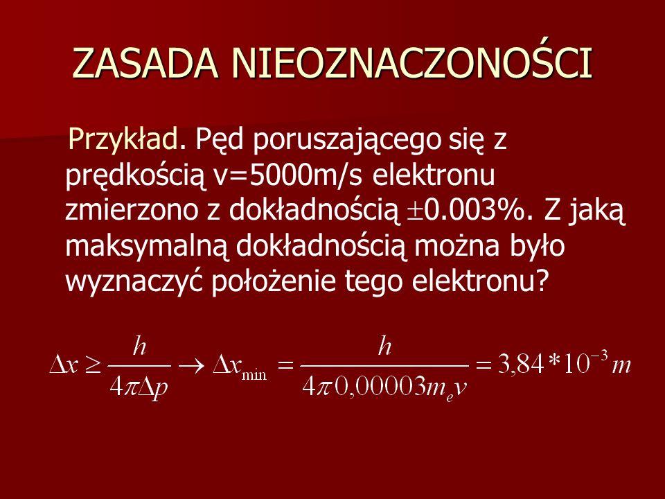 ZASADA NIEOZNACZONOŚCI Przykład. Pęd poruszającego się z prędkością v=5000m/s elektronu zmierzono z dokładnością  0.003%. Z jaką maksymalną dokładnoś