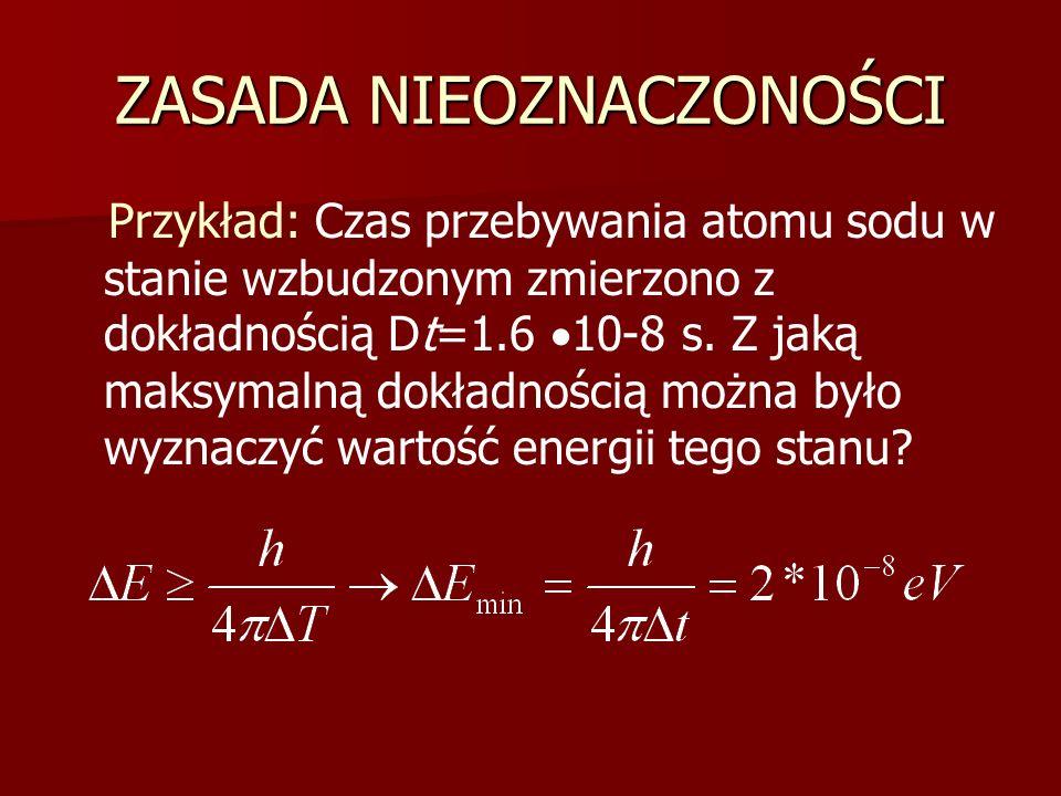 ZASADA NIEOZNACZONOŚCI Przykład: Czas przebywania atomu sodu w stanie wzbudzonym zmierzono z dokładnością Dt=1.6  10-8 s. Z jaką maksymalną dokładnoś
