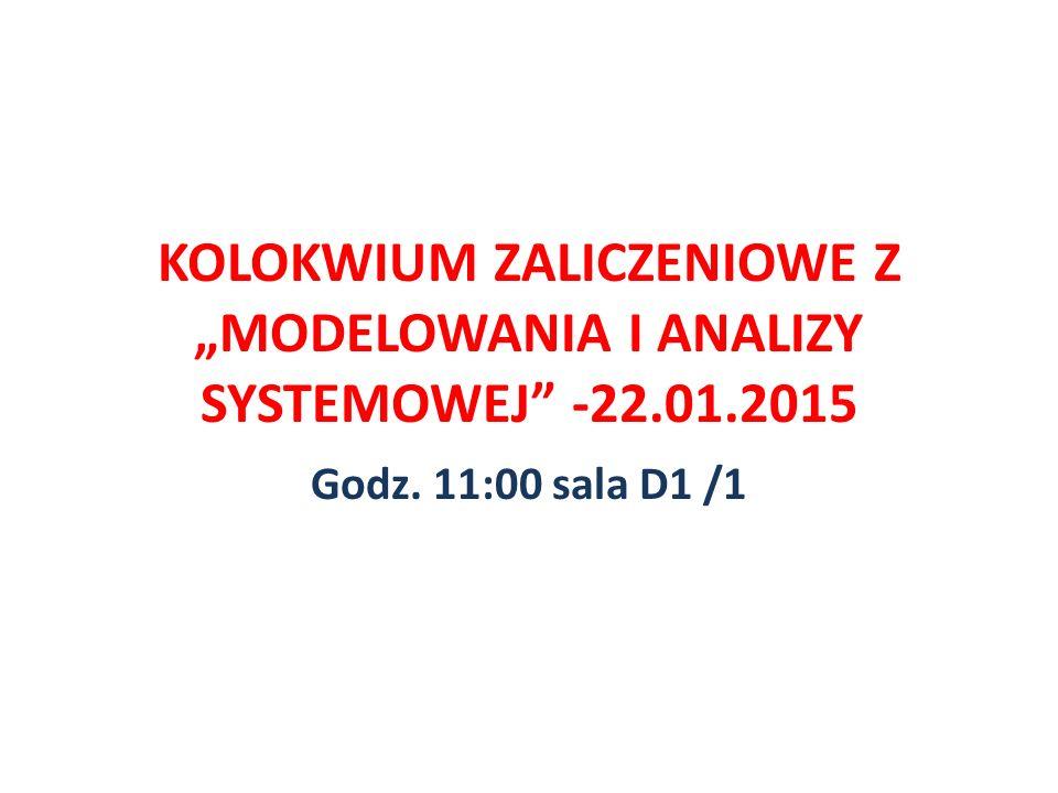 """KOLOKWIUM ZALICZENIOWE Z """"MODELOWANIA I ANALIZY SYSTEMOWEJ"""" -22.01.2015 Godz. 11:00 sala D1 /1"""
