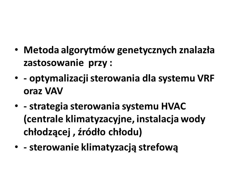 Metoda algorytmów genetycznych znalazła zastosowanie przy : - optymalizacji sterowania dla systemu VRF oraz VAV - strategia sterowania systemu HVAC (c