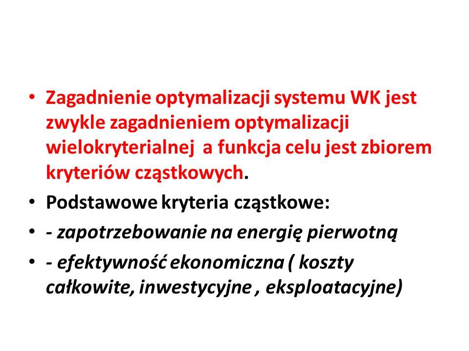 Zagadnienie optymalizacji systemu WK jest zwykle zagadnieniem optymalizacji wielokryterialnej a funkcja celu jest zbiorem kryteriów cząstkowych. Podst
