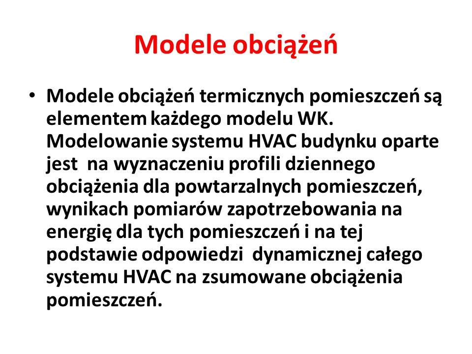 Modele obciążeń Modele obciążeń termicznych pomieszczeń są elementem każdego modelu WK. Modelowanie systemu HVAC budynku oparte jest na wyznaczeniu pr