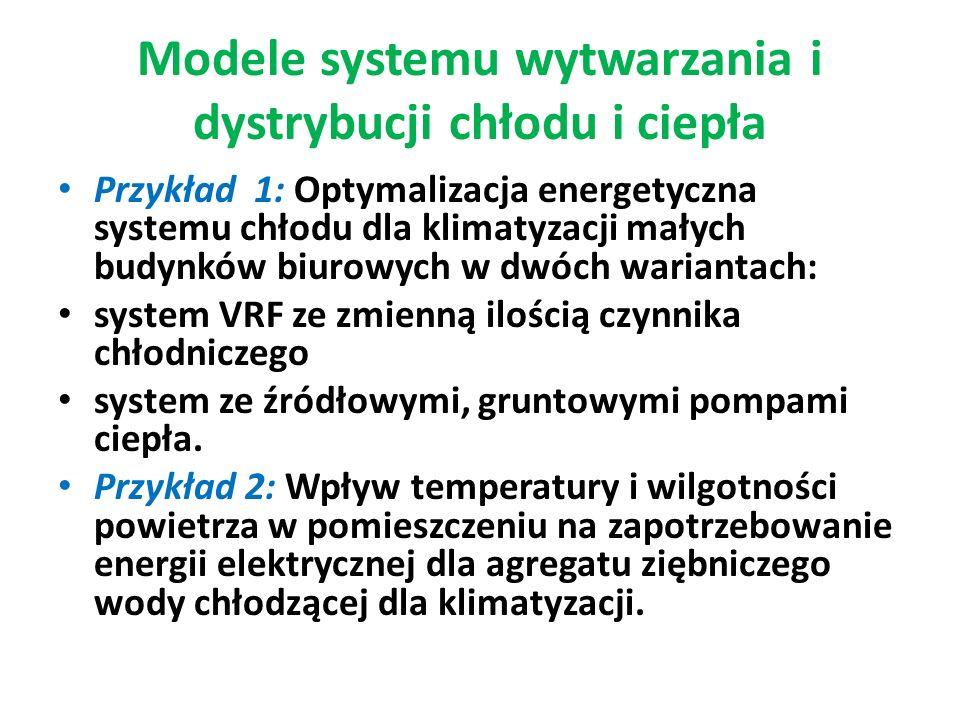 Modele systemu wytwarzania i dystrybucji chłodu i ciepła Przykład 1: Optymalizacja energetyczna systemu chłodu dla klimatyzacji małych budynków biurow