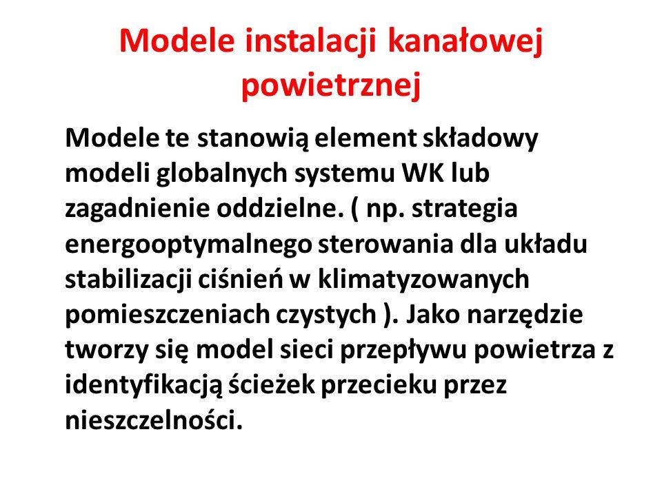 Modele instalacji kanałowej powietrznej Modele te stanowią element składowy modeli globalnych systemu WK lub zagadnienie oddzielne. ( np. strategia en