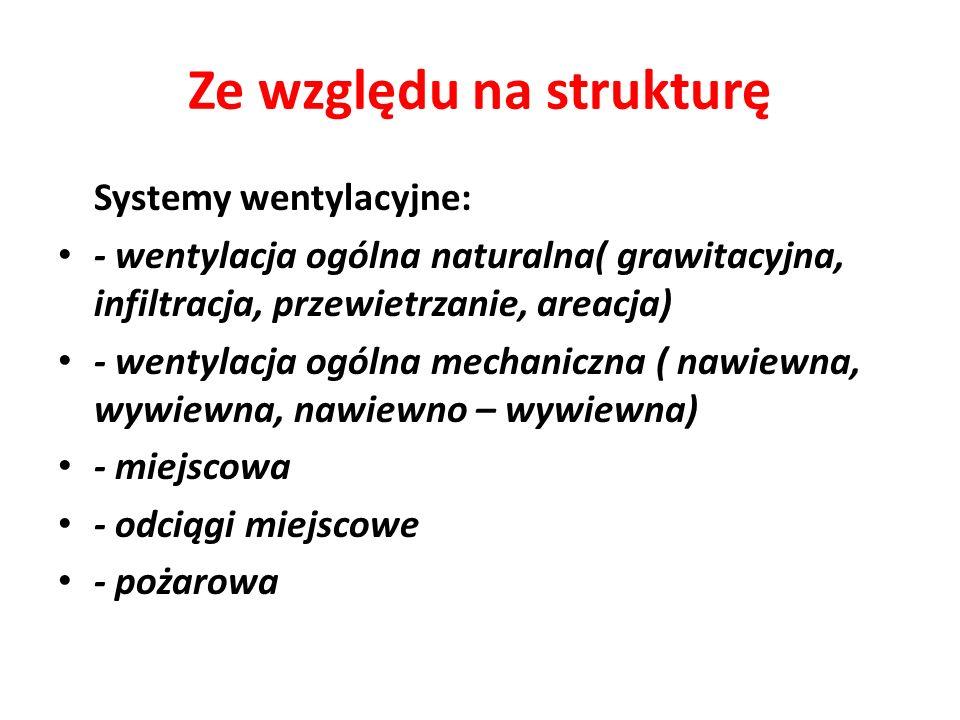Ze względu na strukturę Systemy wentylacyjne: - wentylacja ogólna naturalna( grawitacyjna, infiltracja, przewietrzanie, areacja) - wentylacja ogólna m