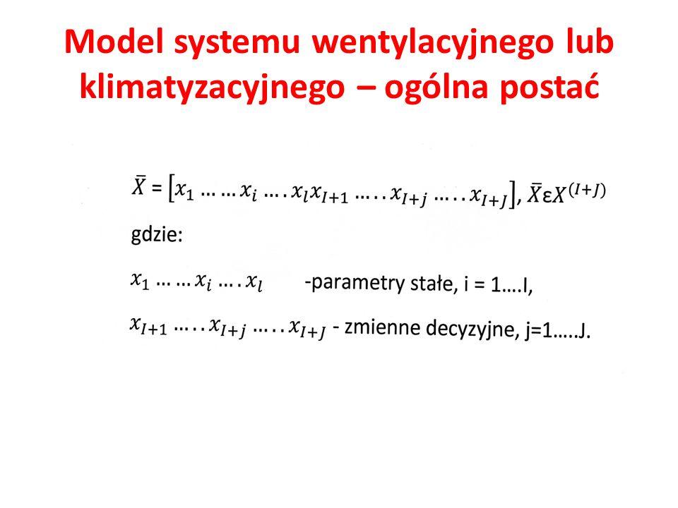 Model systemu wentylacyjnego lub klimatyzacyjnego – ogólna postać