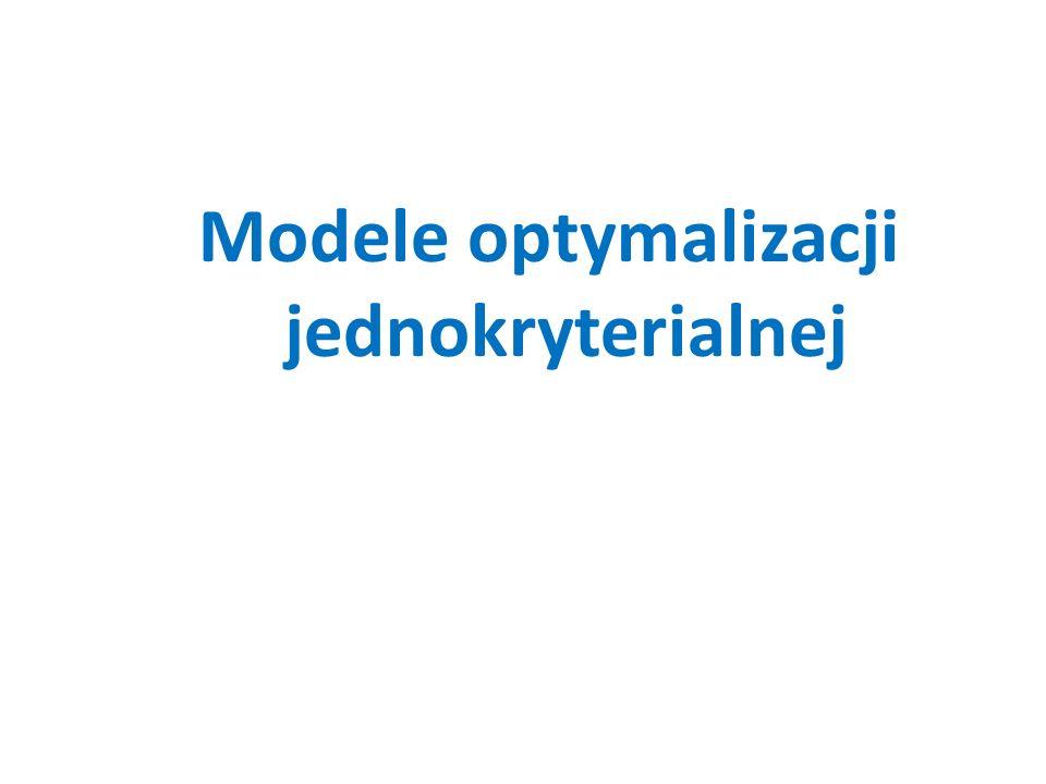 Modele optymalizacji jednokryterialnej