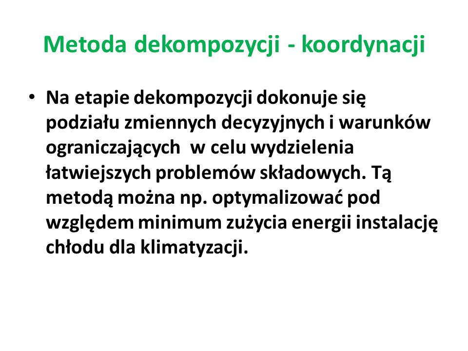 Metoda dekompozycji - koordynacji Na etapie dekompozycji dokonuje się podziału zmiennych decyzyjnych i warunków ograniczających w celu wydzielenia łat