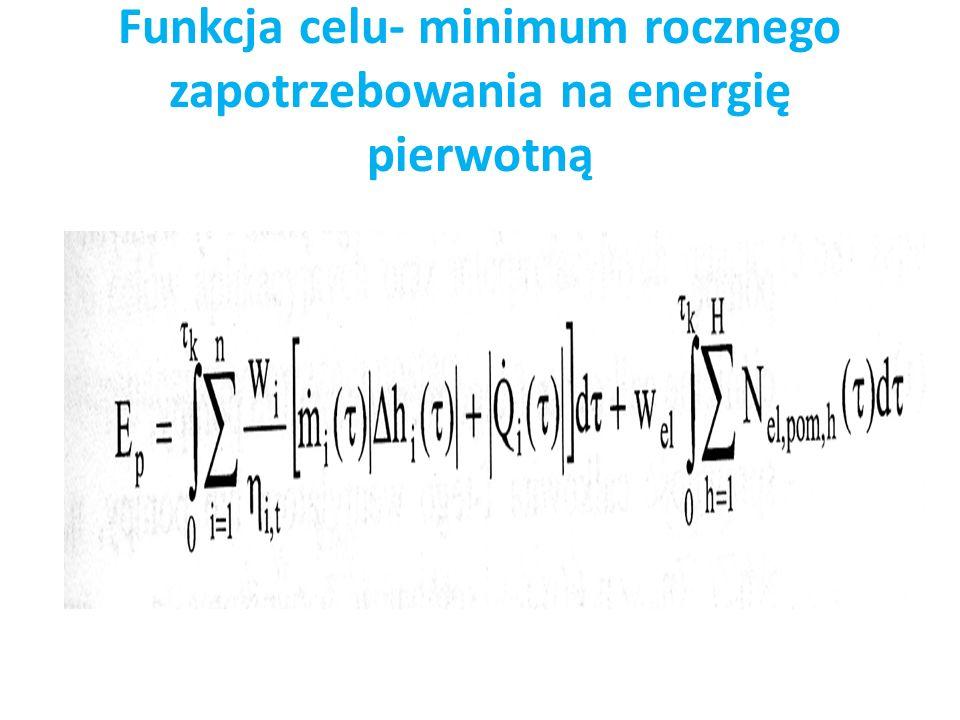 Funkcja celu- minimum rocznego zapotrzebowania na energię pierwotną