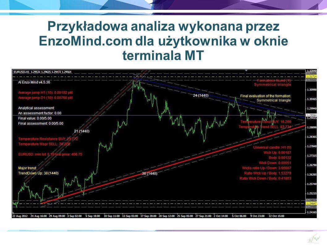 Przykładowa analiza wykonana przez EnzoMind.com dla użytkownika w oknie terminala MT