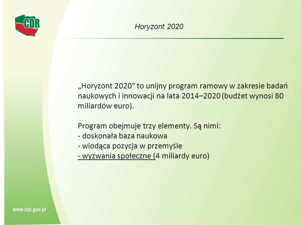 Horyzont 2020 Projekty mają przyczynić się do: - podniesienia wydajności produkcji i stawiania czoła zmianie klimatu przy zapewnieniu zrównoważonego rozwoju i odporności na zmiany sytuacji gospodarczej - świadczenia usług ekosystemowych i dostawy dóbr publicznych - aktywizacji obszarów wiejskich, wspierania polityk i innowacji na wsi - wspierania zrównoważonego leśnictwa - tworzenia zrównoważonego i konkurencyjnego przemysłu rolno-spożywczego - wspierania rozwoju rynku bioproduktów i procesów opartych na biotechnologii.