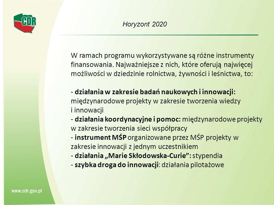 Horyzont 2020 W ramach programu wykorzystywane są różne instrumenty finansowania.