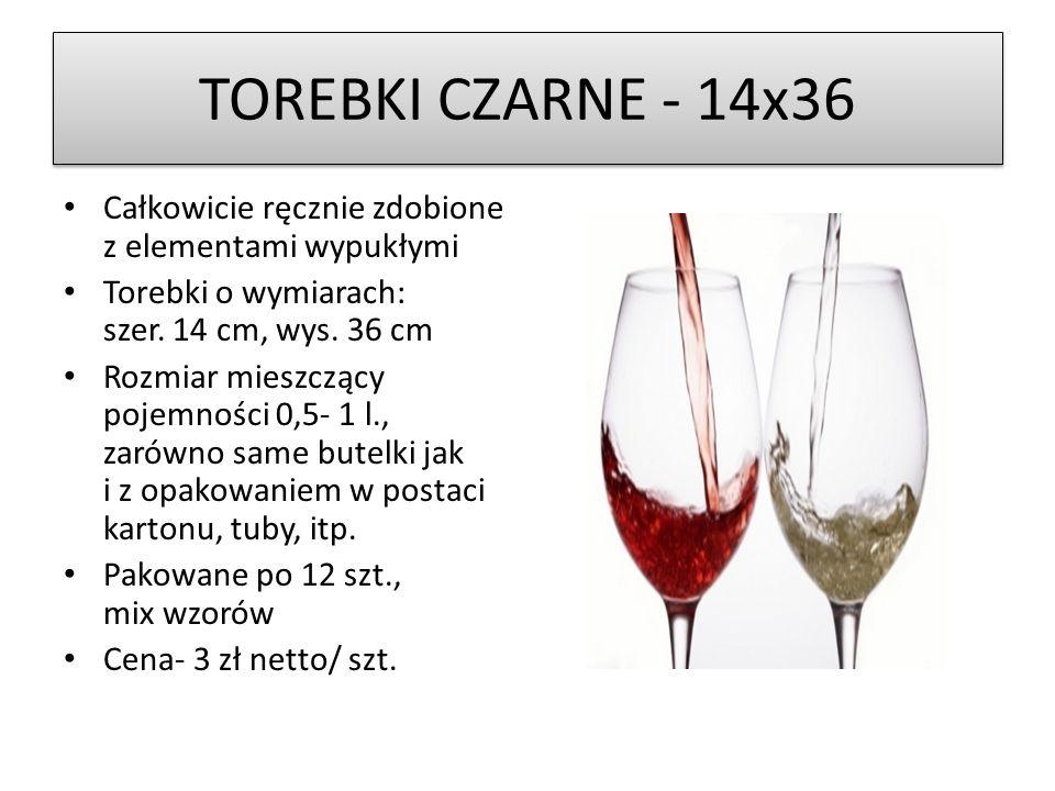TOREBKI CZARNE - 14x36 Całkowicie ręcznie zdobione z elementami wypukłymi Torebki o wymiarach: szer.