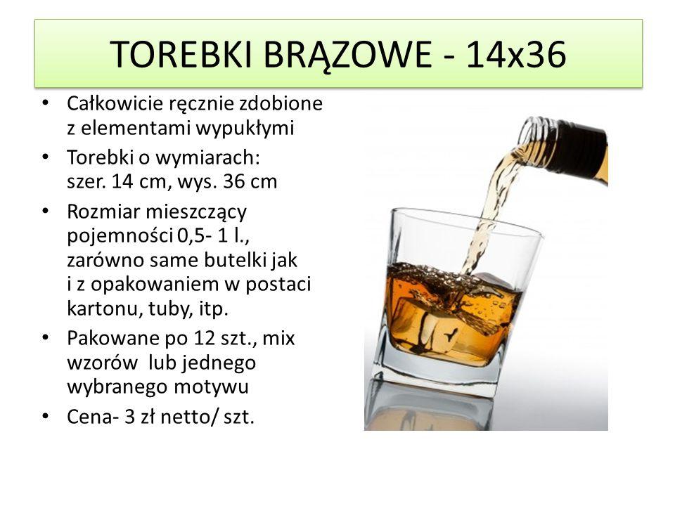 TOREBKI BRĄZOWE - 14x36 Całkowicie ręcznie zdobione z elementami wypukłymi Torebki o wymiarach: szer.