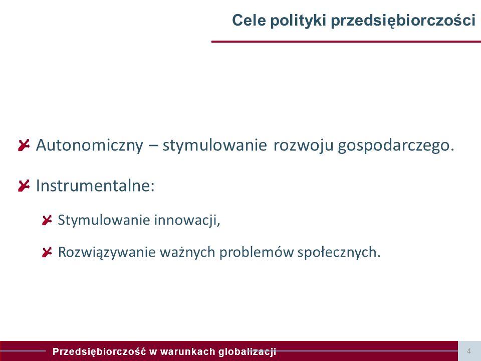 Przedsiębiorczość w warunkach globalizacji 4 Cele polityki przedsiębiorczości Autonomiczny – stymulowanie rozwoju gospodarczego. Instrumentalne: Stymu
