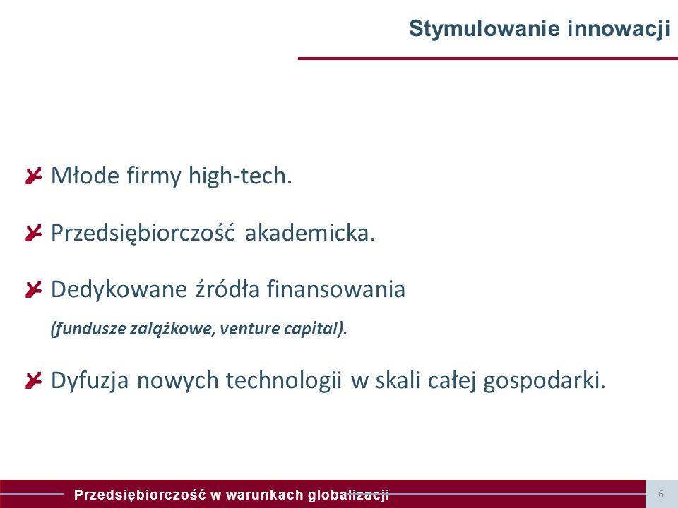 Przedsiębiorczość w warunkach globalizacji 6 Stymulowanie innowacji Młode firmy high-tech. Przedsiębiorczość akademicka. Dedykowane źródła finansowani