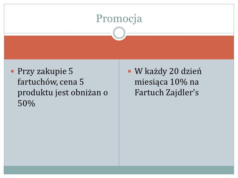 Przy zakupie 5 fartuchów, cena 5 produktu jest obniżan o 50% W każdy 20 dzień miesiąca 10% na Fartuch Zajdler's Promocja
