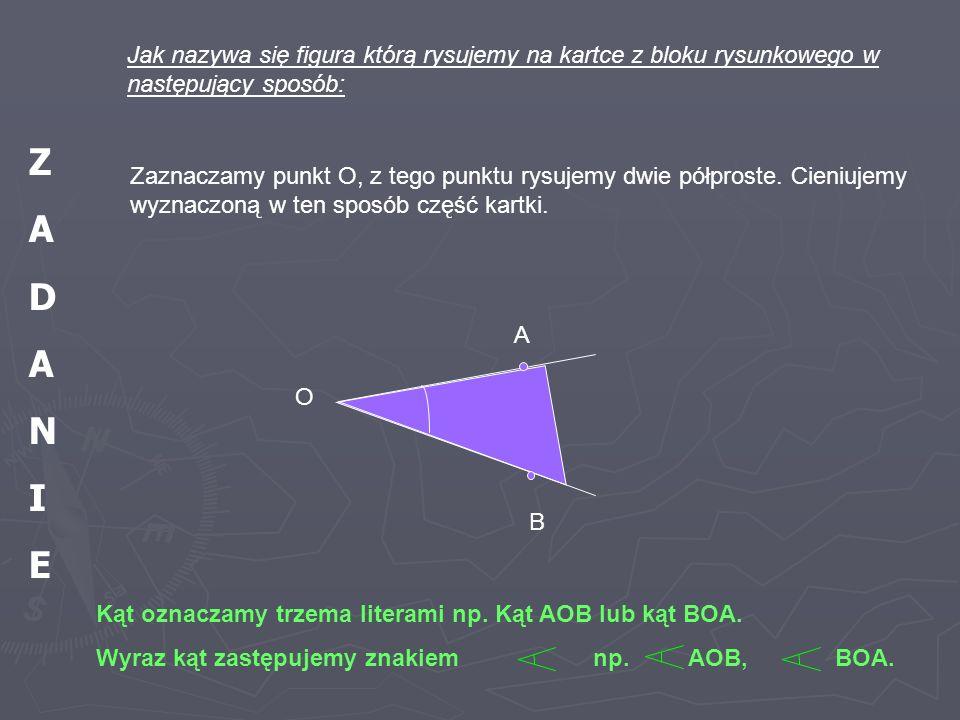Jak nazywa się figura którą rysujemy na kartce z bloku rysunkowego w następujący sposób: Zaznaczamy punkt O, z tego punktu rysujemy dwie półproste. Ci