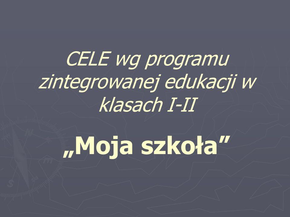 """CELE wg programu zintegrowanej edukacji w klasach I-II """"Moja szkoła"""""""