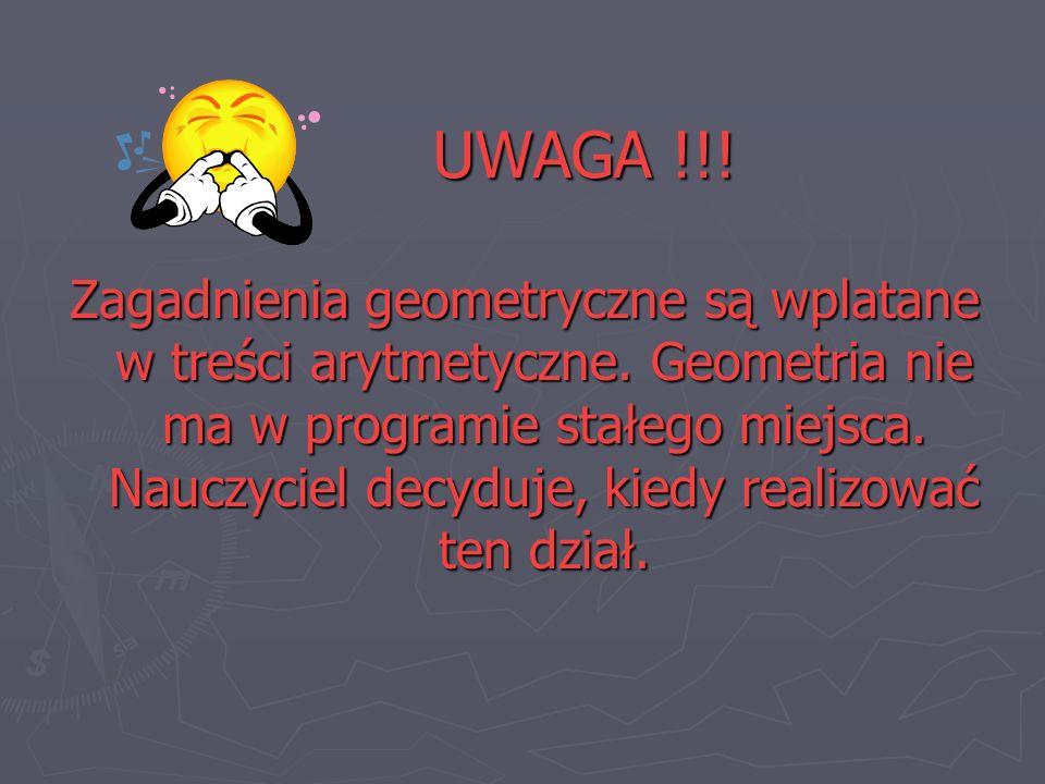 UWAGA !!! Zagadnienia geometryczne są wplatane w treści arytmetyczne. Geometria nie ma w programie stałego miejsca. Nauczyciel decyduje, kiedy realizo