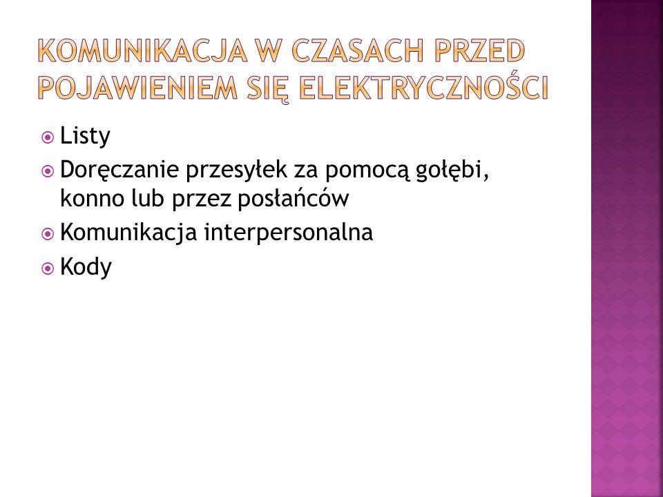  Listy  Doręczanie przesyłek za pomocą gołębi, konno lub przez posłańców  Komunikacja interpersonalna  Kody