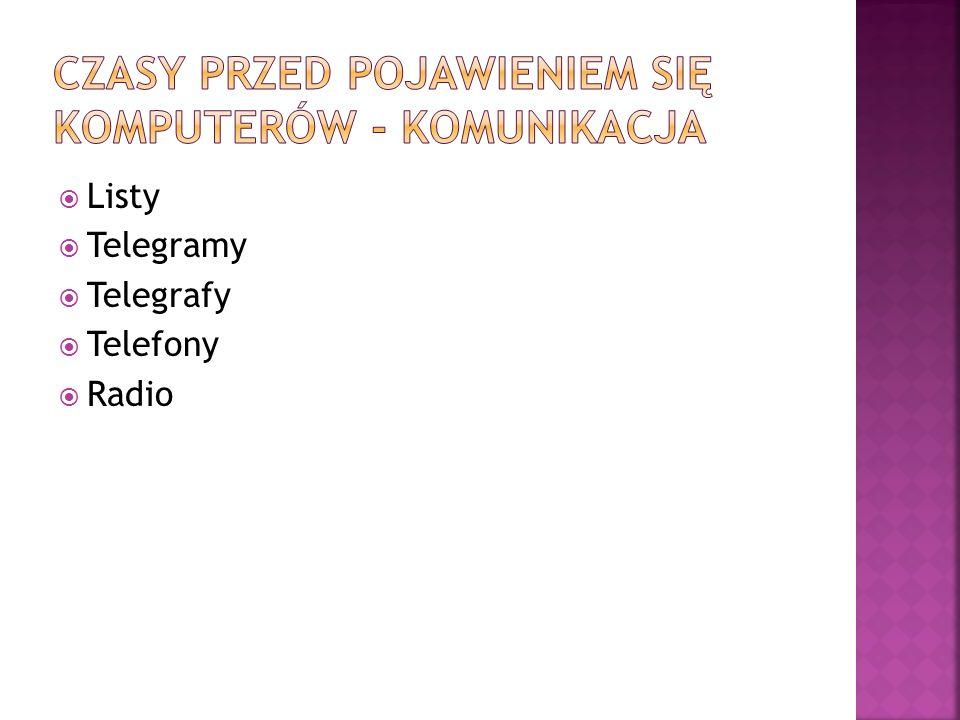  Listy  Telegramy  Telegrafy  Telefony  Radio