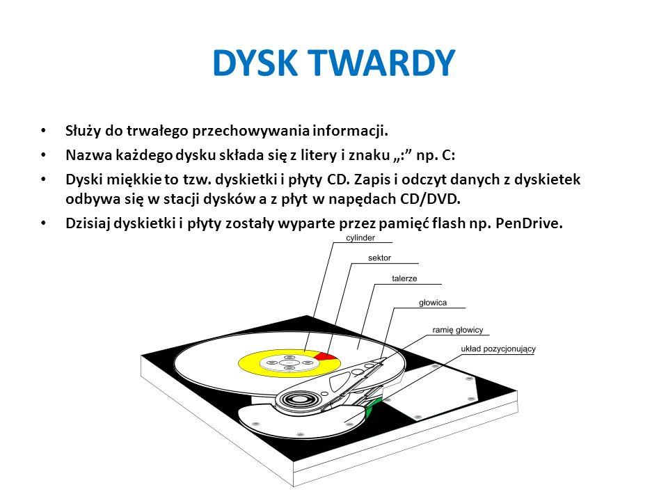 """DYSK TWARDY Służy do trwałego przechowywania informacji. Nazwa każdego dysku składa się z litery i znaku """":"""" np. C: Dyski miękkie to tzw. dyskietki i"""