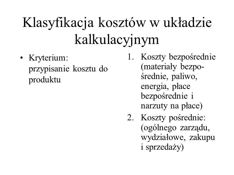 Podstawowe struktury (Klasyfikacje kosztów) Kryterium klasyfikacji: Rodzaj zużywanego czynnika produkcji (układ rodzajowy) Rodzaje kosztów: 1. Koszty