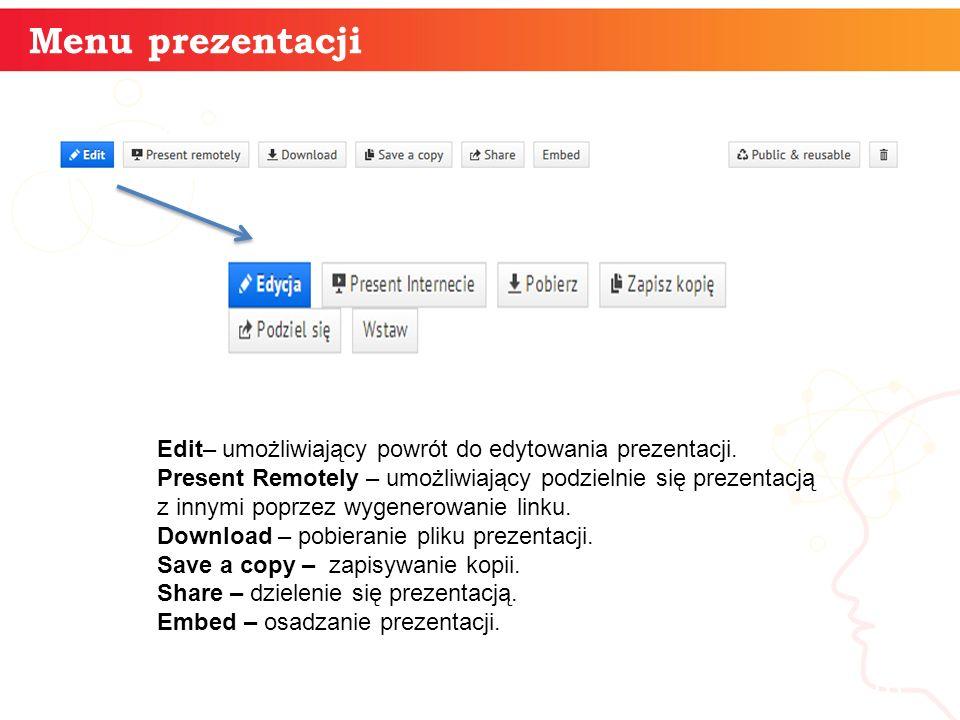 Menu prezentacji informatyka + 16 Edit– umożliwiający powrót do edytowania prezentacji.