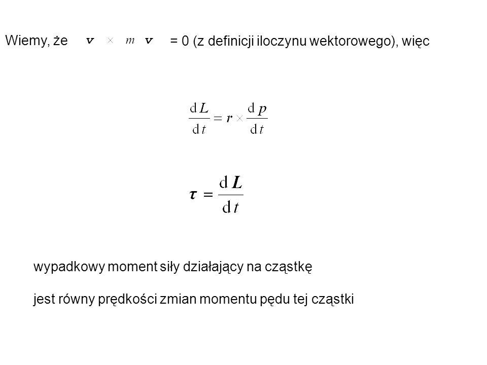 Wiemy, że = 0 (z definicji iloczynu wektorowego), więc wypadkowy moment siły działający na cząstkę jest równy prędkości zmian momentu pędu tej cząstki