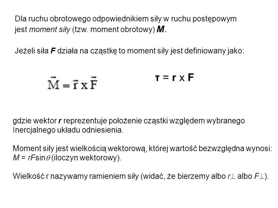 Dla ruchu obrotowego odpowiednikiem siły w ruchu postępowym jest moment siły (tzw. moment obrotowy) M. Jeżeli siła F działa na cząstkę to moment siły