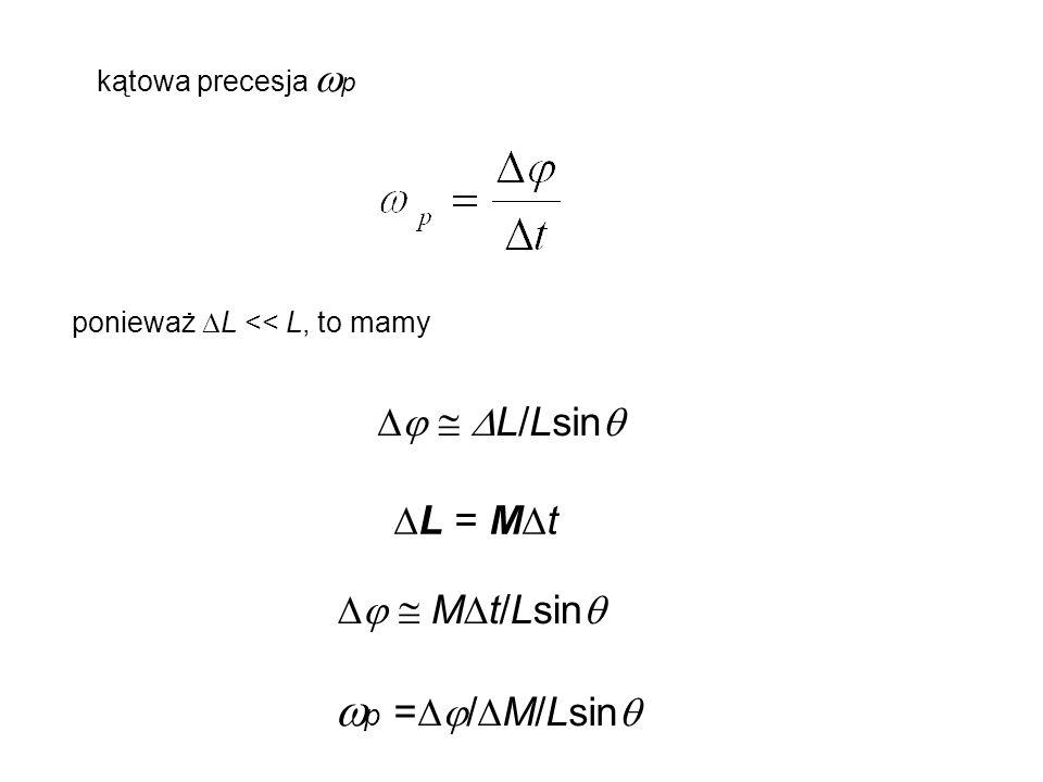 kątowa precesja  p ponieważ  L << L, to mamy    L/Lsin   L = M  t   M  t/Lsin   p =  /  M/Lsin 