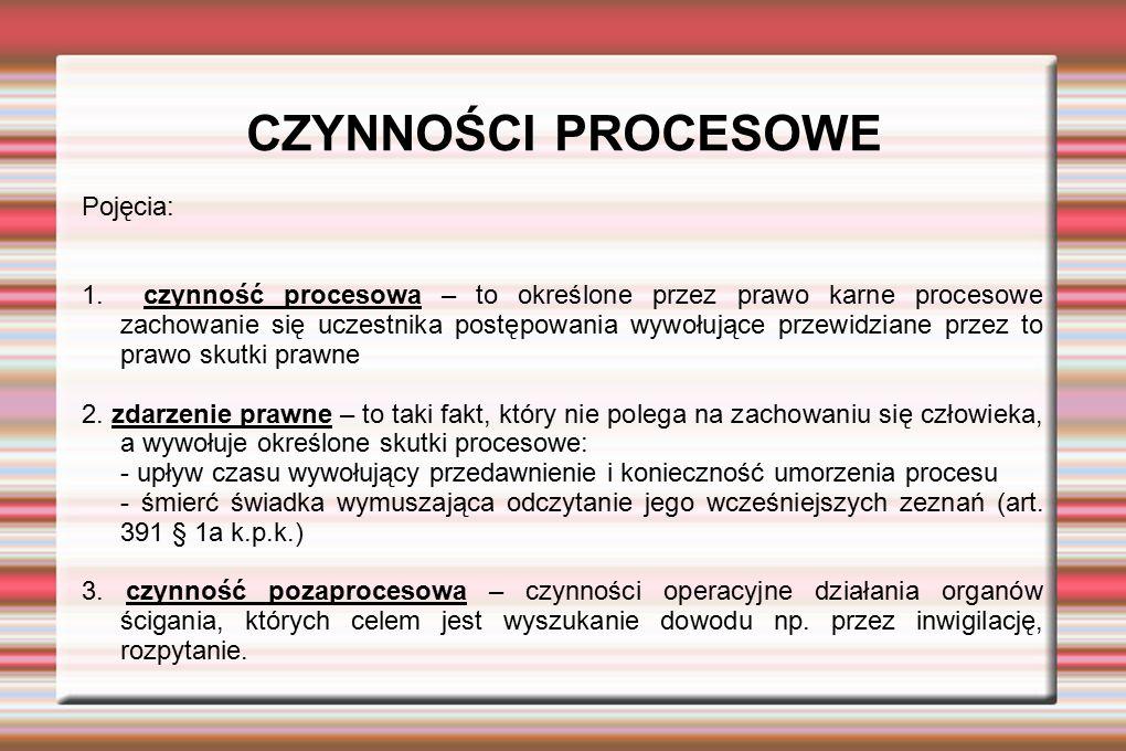 CZYNNOŚCI PROCESOWE Pojęcia: 1. czynność procesowa – to określone przez prawo karne procesowe zachowanie się uczestnika postępowania wywołujące przewi
